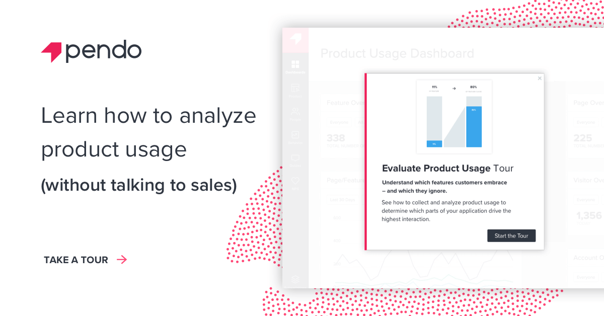 Learn how Pendo can help you analyze product usage - take a tour now