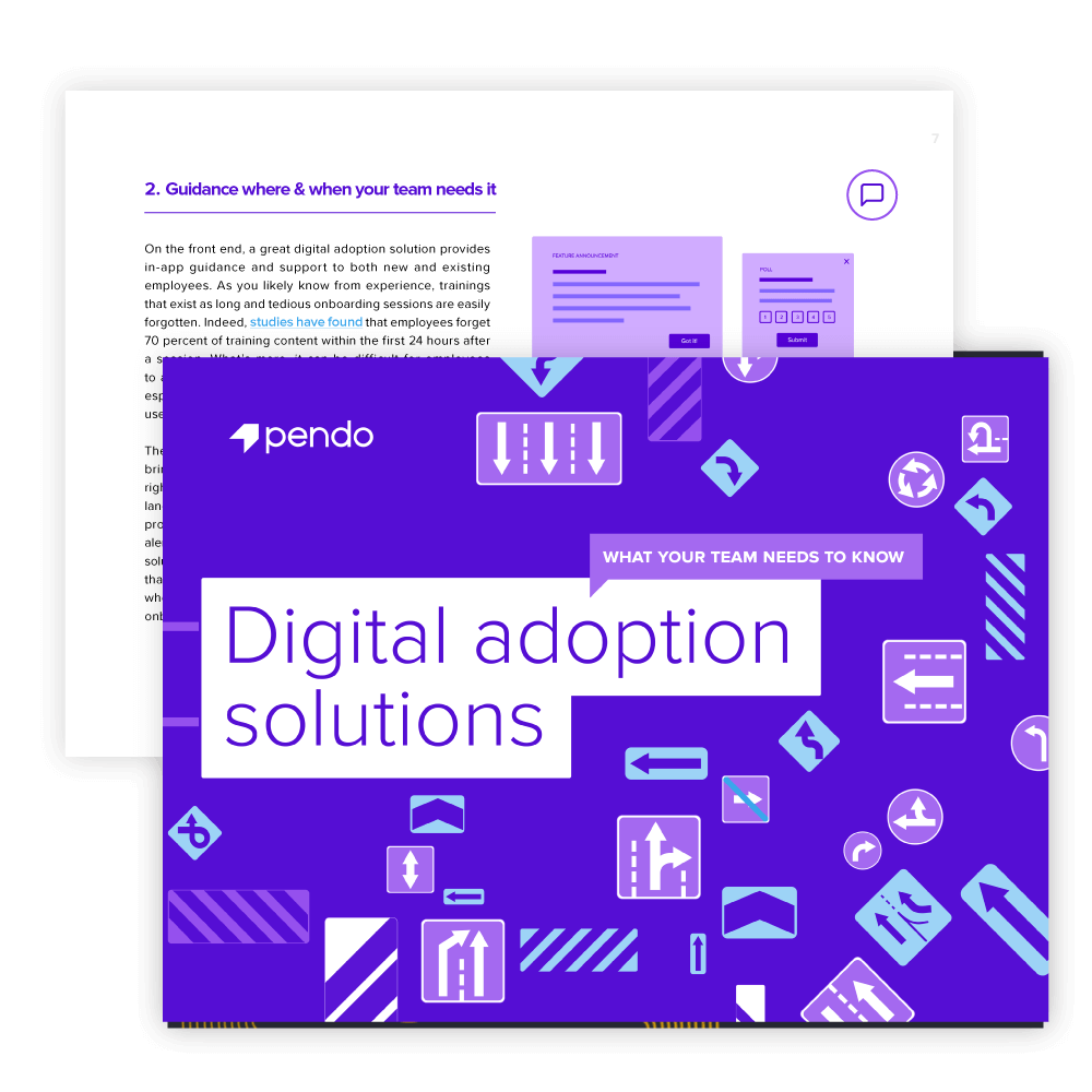 Pendo e-book: Digital adoption solutions: What your team needs to know // Start reading
